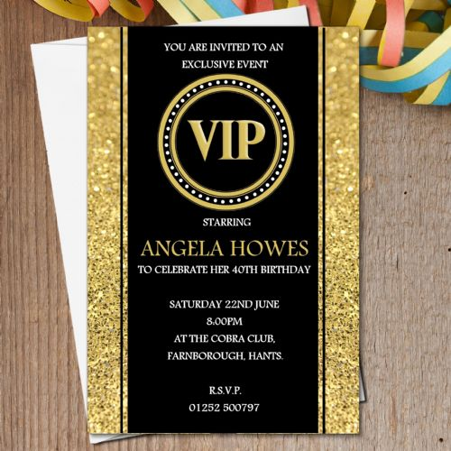 10 Personalised Black & Gold VIP Birthday Party Invitations N190 - Any age 18th 21st 30th 40th 50th 60th